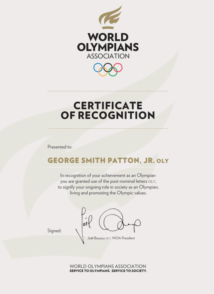 George Smith Patton, Jr. OLY Certificate of Recognition from the World Olympians Association